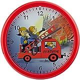 EUROTIME Kinder Wanduhr mit Feuerwehrmotiv, kein Ticken, schleichende Sekunde (geräuscharm) 25 cm; 80026
