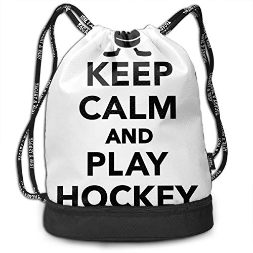 LULABE Printed Drawstring Backpacks Bags,Keep Calm and Play Hockey Quote with Sticks In Black and White Competition Sports,Adjustable String Closure (Hockey Minion)