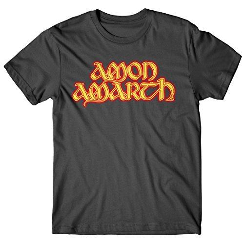 T-shirt Uomo Amon Amarth - Fire Logo - Maglietta 100% cotone LaMAGLIERIA,L , Grafite