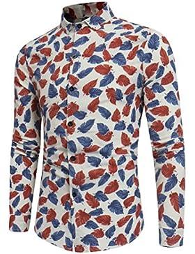 Hombres Moda Hoja Impresión Camisa, WINWINTOM Botón Manga Larga Blusa