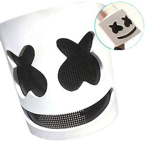 (QYWSJ Dj-Maske, Elektronische Silbe Marshmallow Dj-Kopfbedeckung, Rollenspiele Christbaumschmuck Bar Dance Dress Up, Erwachsenenmusik Requisiten (Weiß))