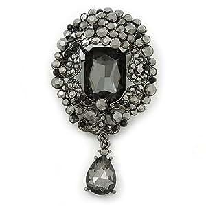 Broche breloque cristal hématite style victorien