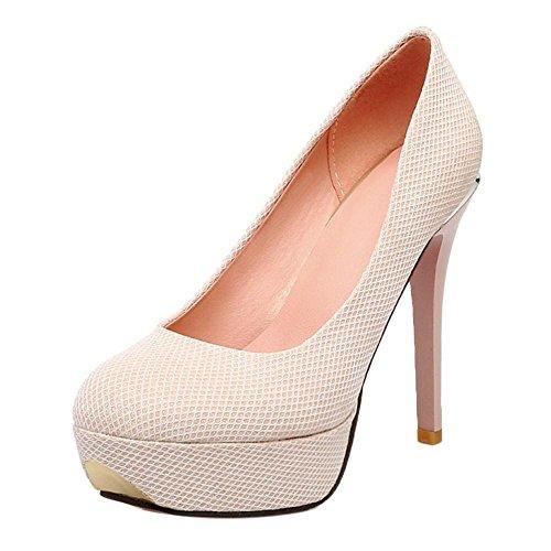 TAOFFEN Damen Mode Stiletto Schlupfschuhe Plateau Wedding Pumps Pink