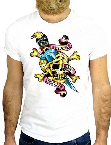 T SHIRT Z0687 TATTO NICE SKULL KNIVE KNIFE NICE VINAGE JERRY NICE COOL HIPSTER GGG24 BIANCA - WHITE