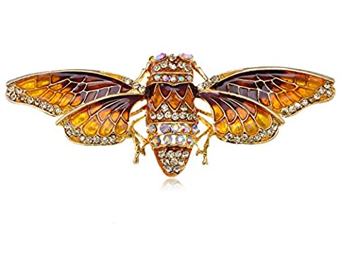 Alilang Golden Tone Iridescent Crystal Colored Rhinestone Insect Moth Brooch