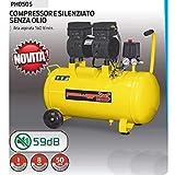 COMPRESSORE 50 LT SILENZIATO A SECCO ITALY 8 BAR 1 HP ITALY 2 CONNETTORI 2 MANOMETRI PISTONE TEFLON SENZA OLIO