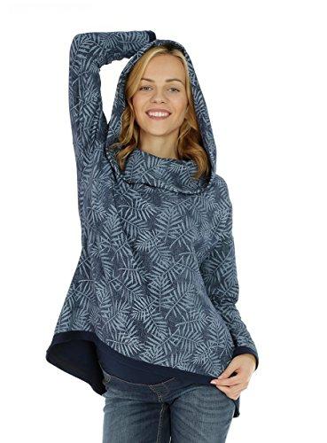 Nitis Umstandsmode Damen Langarmshirt Locker Mode Herbst Kapuzenshirt Kapuzenpullover Einfarbig Casual Sweatshirt Blue Melange