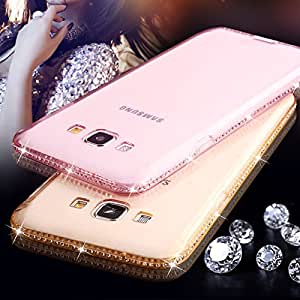Generic Rosegold, A3 2016 A310 : For Samsung Galaxy A3 A5 2016 case for Galaxy S5 S6 S7 Edge Case Diamond Soft TPU Cover Clear Crystal ultra slim back cover