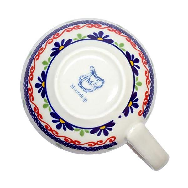 Mino Ware Coffee Mug Ceramic Tea Cup, Polish Pottery Boleslawiec Flower Design, 1.5 oz, Red