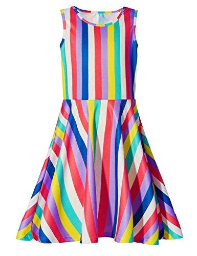 chen Ärmellos Party Kleid Sommer Skater-Kleid Knielänge 10-12 Jahre (Party-kleid Für 12 Jahre Altes Mädchen)