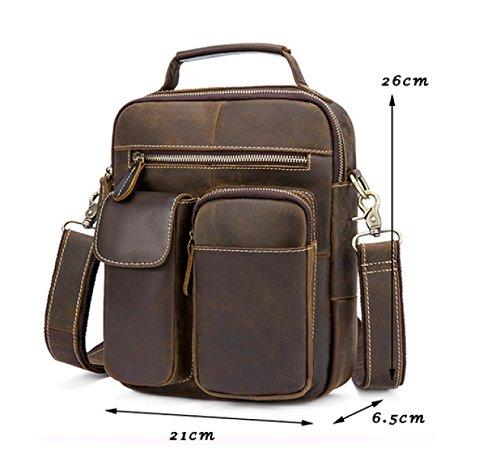 LAIDAYE Retro Mann-Schulter-Beutel-Handtaschen-Aktenkoffer Kurier-Beutel-Geschäfts-Handtasche Brown