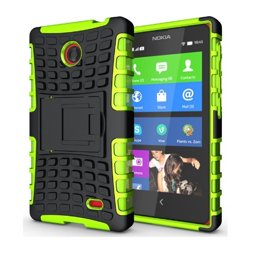 Heartly Flip Kick Stand Hard Dual Armor Hybrid Bumper Back Case Cover For Nokia X X+ Dual Sim Plus Android A110- Green  available at amazon for Rs.399