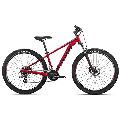 ORBEA MX 27 50 XS Jugend Fahrrad 24 Gang 27,5 Zoll Kinder MTB Rad Scheibenbremse Mountain Bike Alu, J02614R, Farbe Rot Schwarz