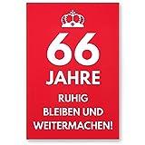 DankeDir! 66 Jahre, Ruhig Bleiben - Geschenk 66. Geburtstag, Geschenkidee Geburtstagsgeschenk Zum Sechsundsechzigsten, Geburtstagsdeko/Partydeko/Party Zubehör/Geburtstagskarte