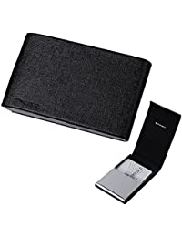 EDC04A01 Black Business Card Case For Men Gift Idea Stainless Steel Leather Card Case With Gift Box Leather Card...