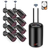 WLAN Heimüberwachung Kamera kit, 8 Kanal 1080P WiFi NVR Videoüberwachung System mit 8pcs 1080P Wasserfeste IP Überwachungs Kameras, Automatische Verbindung, Remote Zugriff, 2 TB Festplatte
