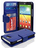 Cadorabo Hülle für LG L70 Hülle in Neptun blau Handyhülle mit 3 Kartenfächern Case Cover Schutzhülle Etui Tasche Book Klapp Style Neptun-Blau