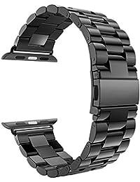 YISUYA 42mm Apple Watch Banda, sólido acero inoxidable Metal reemplazo correa Classic Apple iWatch muñequera con botón doble cierre plegable Negro