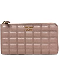 dd2f810697d9 Prada 1M1132 Vitello Shine Quilted Leather Zip Around Wallet Portafoglio -  Pink