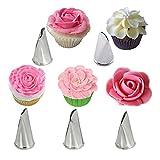 KBstore 5 Pezzi Beccucci in Acciaio per sac a Poche - Bocchette Fiori Pasticceria Set per Decorazione Torte, Cupcakes, Biscotti, Pasticcini #2