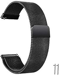 Correa Reloj 20mm 22mm Correa Milanesa Reloj de Acero Inoxidable Correa Malla Reloj Magnética Reemplazo de la Banda de Reloj de Pulsera de Acero Inoxidable para Hombres y Mujeres (20mm, Negro)