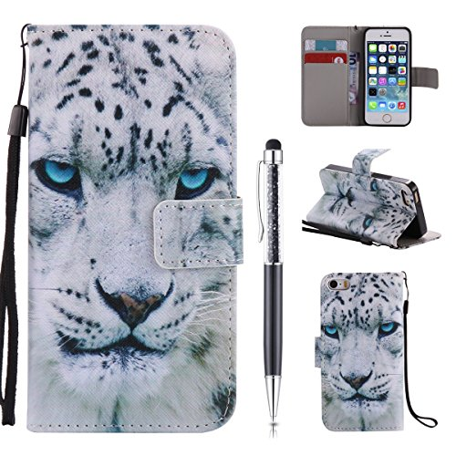 Cover Pelle per iPhone SE Custodia,per iPhone 5S Custodia,per iPhone 5, ZCRO Cover Flip Portafoglio Libro in Pelle PU Wallet Case Multifunzione Copertura Colorate Disegno Modello Caso con Magnetica Ci Leopardo