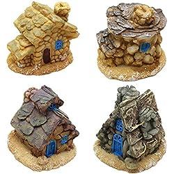 LJY 4piezas en miniatura jardín de hadas Mini guirnalda de Cottage casas casas de piedra–para el jardín y patio decoración–Accesorios para el hogar decoración al aire libre decoración