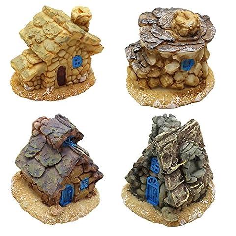 LJY 4 Stück Miniatur-Fee-Garten Steinhäuser - Mini-Fee Ferienhäuser für Garten & Terrasse Dekoration - Zubehör für Hauptdekoration Gartendekoration