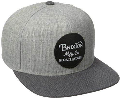 Brixton Wheeler - Cappellino da baseball, Unisex, Cap Wheeler Snapback, Light Heather Grey/Charcoal, Taglia unica