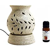 [Sponsored]Farkraft's Ethnic Electric Aroma Diffuser/Burner Matt White Aroma Diffuser | With Farkraft 5 In One Aroma Oil Pack (Lavender, Lemongrass, Camphor, Sandal, Jasmin) 10 ML Each Combo