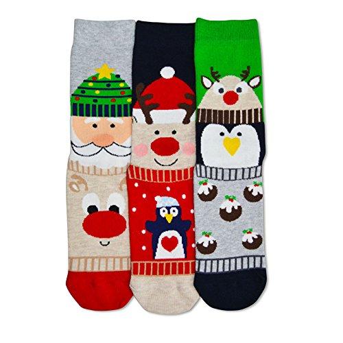 Oddsocks Carol Weihnachten Socken für Frauen im 3er Set - Weihnachten Strumpf Carol Weihnachtsmann