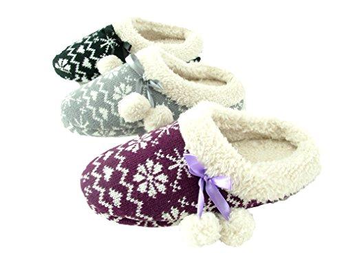 Damen Hausschuh Pantoffeln Flausch gefüttert mit Bommel und rutschfester Sohle Norweger-Design Beere