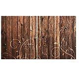 Wallario Herdabdeckplatte / Spritzschutz aus Glas, 3-teilig, 90x52cm, für Ceran- und Induktionsherde, Holz in dunkelbraun mit Blumenmuster - Schnörkel