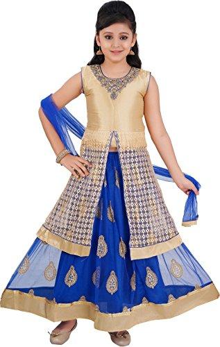Saarah Girls Ethnic Wear Blue Color Self Design Lehenga, Choli and Dupatta...