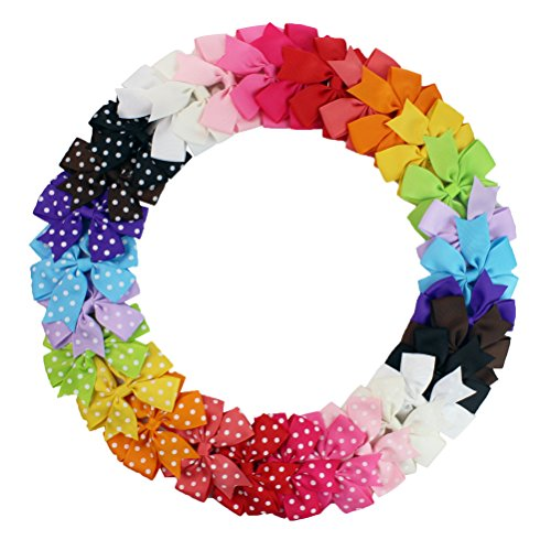 boutique kids bow polka dot hair bow for baby girls kids hair pin clips baby accessories (30pcs mix color)