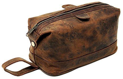 Leather toiletry bag for men marrón Neceser bolsa, Bolso Aseo de genuina piel, Bolso Tocador de cuero de viaje cosmético impermeable del maquillaje bolso Travel Wash Bag artículos personal hombre