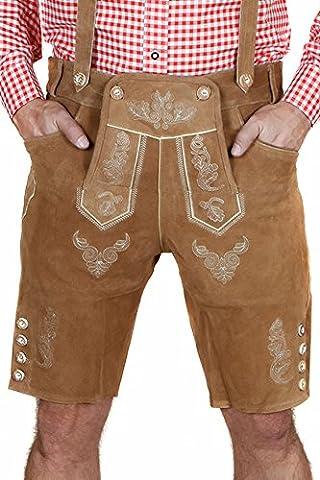 Elegante Herren Trachten-Lederhose kurz aus feinem Rindsvelourleder, Hellbraun / Traditionell / Oktoberfest / Wiesn / 100% Leder,Gr.52