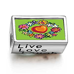 Soufeel 925 Sterling Silver Fashion Cartoon Theme Words Live Love Laugh Charms Fit Bracelets