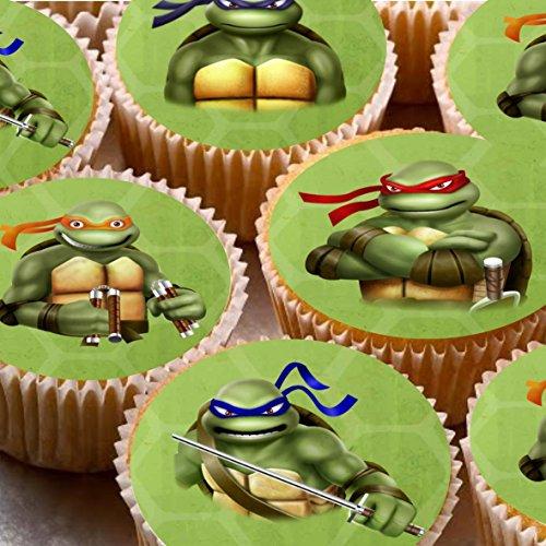 Kuchendekorationen, 4 cm, Bilder auf Zuckerguss für Cupcakes - Motiv: TMNT, Teenage Mutant Ninja Turtles, 24 Stück