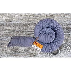 Bettschlange, Waffelpique Rauchblau, 180cm bis 300cm wählbar, Handmade, ÖKO-TEX® Standard 100 zertifizierte Materialien, 100% Made in Germany