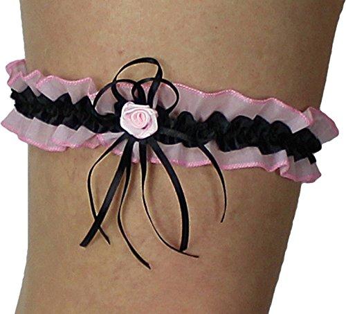 Süßer Braut Strumpfband mit Schleifchen, Röschen, Blümchen, Perlchen viele Muster alle Farben Hochzeit Neu Strumpfbänder (bis 60 cm, rosa-schwarz)