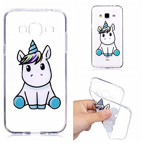 """Custodia per Samsung Galaxy J3 2016 (SM-J310) , IJIA Trasparente Adorabile Unicorno TPU Silicone Morbido Protettivo Shell Coperchio Caso Bumper Protettiva Case Cover per Samsung Galaxy J3 2016 (5.0"""")"""