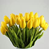winkey Künstliche Fake Blumen, Tulpen, künstliche Blume Latex Real Touch Bridal Wedding Bouquet Home Decor, 10Stück, PU, gelb, 35 cm