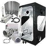 Cultivalley Growbox Komplett-Set 120x120x200cm, 600W NDL MH Wuchs & HPS Blüte Bausatz Plug & Play, 280m³ Standard Klimaset mit AKF