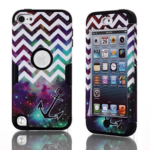 SAVYOU Touch5 Fall, iPod touch5th Fall, Touch5 Fall, Chevron K Star Anchor Muster 3 in 1 Combo Hybrid stoßfest Case Cover für Apple iPod Touch 5 5. Generation, Flower-Black