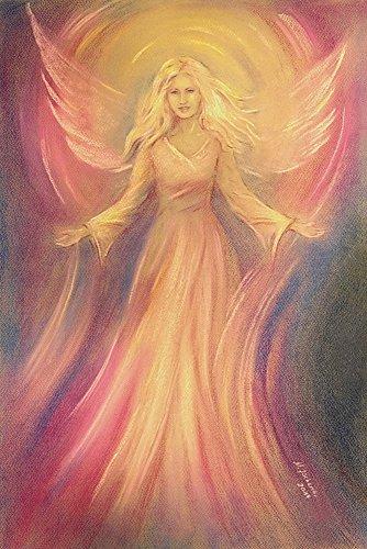Artland Qualitätsbilder I Poster Kunstdruck Bilder 60 x 90 cm Fantasy Mythologie Religion Christentum Illustration Pink Rosa D4ZL Engel Licht Liebe Spirituelle Malerei