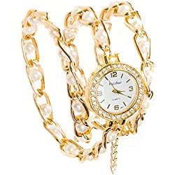 RUIZHUO® Womens Quartz Analog Bead Embedded Wrist Watch Gold Band Designer Choice