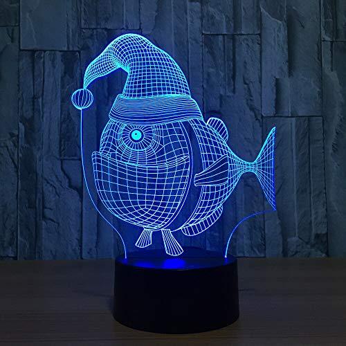 Neuheit Weihnachten Hut Fisch Modell 3d LED Nachtlichter 7 Farbwechsel 3D USB Tisch Schreibtischlampe Schlafzimmer Schlaf Beleuchtung Weihnachtsgeschenk (Hut Neuheit Weihnachten)