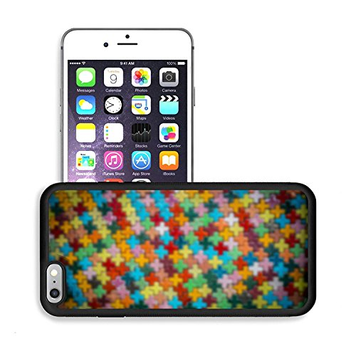 Luxlady Premium Apple iPhone 6 Plus iPhone 6S Plus Aluminum Backplate Bumper Snap Case IMAGE 36758205 Colorful cross block wall pattern in Blur style