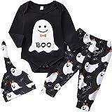 Halloween Kostüme Neugeborenes Baby Jungen Mädchen Säugling Baby Langarm Kleidung, 3 STÜCKE Ghost Print Overall + Hosen + Hut Kleinkind (0-18 Monate, Schwarz + Weiß)